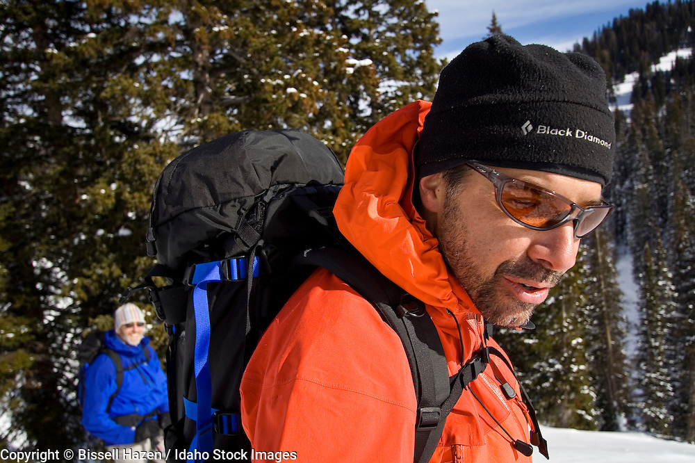 rich rinaldi, owner of yostmark backcountry sports in driggs, guiding backcountry skiing on teton pass idaho