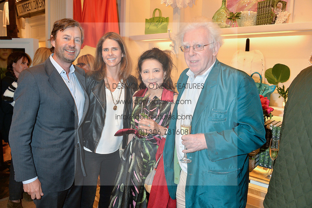 Left to right, TIM & ISABELLA KNATCHBULL, JUNG CHANG and JON HALLIDAY at a party to celebrate the publication of India Hicks: Island Style hosted by Princess Marie-Chantal of Greece, Saffron Aldridge and Amanda Brooks has held at Ralph Lauren, 105-109 Fulham Road, London on 28th April 2015,