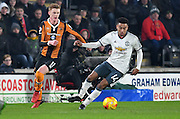 Hull City midfielder Sam Clucas (11) and Manchester United player Jesse Lingard (14) during the EFL Cup semi final match 2 between Hull City and Manchester United at the KCOM Stadium, Kingston upon Hull, England on 26 January 2017. Photo by Ian Lyall.