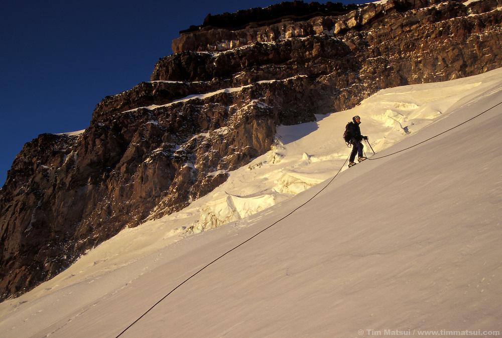 A winter ascent of Mt. Rainier via the Ingraham Glacier Direct.