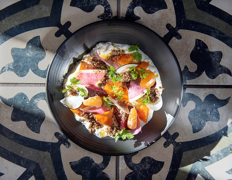 Photo by Mara Lavitt<br /> January 22, 2019<br /> New Haven, CT<br /> <br /> Olmo restaurant (also Olmo Kitchen). Beet salad: stracciatella, preserved Maine blueberries, apple vinegar, dukkah.