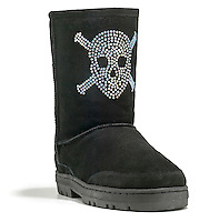 black suede boots with rhinestone skull