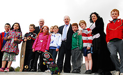 Minister of State for Transport and Tourism Michael Ring performed the official opening at the Westport Greenway Park last Friday, he's pictured with some kids who enjoyed the new facilities...Pic Conor McKeown