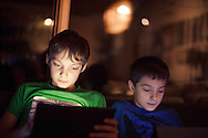 Boys, Digital Tablet, Playing, Excitement, Fun,