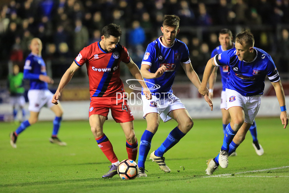 Ian Henderson shoots during the The FA Cup match between Carlisle United and Rochdale at Brunton Park, Carlisle, England on 3 December 2016. Photo by Daniel Youngs.