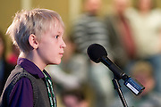 Jansen Wilhelm waits for his next word during the Southeast Ohio Regional Spelling Bee Saturday, March 16, 2013. The Regional Spelling Bee was sponsored by Ohio University's Scripps College of Communication and held in Margaret M. Walter Hall on OU's main campus.