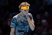 Alexander 'Sasha' Zverev of Germany looks dejected during the Nitto ATP Finals at the O2 Arena, London, United Kingdom on 13 November 2019.