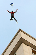 Travis Pastrana is seen base jumping off The Signature at the MGM Grand Hotel & Casino on Wednesday June 1, 2011 in Las Vegas to promote the North American debut of Nitro Circus Live at the MGM Grand Garden Arena on Saturday June 4, 2011. (Jeff Bottari/AP Images for Nitro Circus Live)