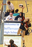 West Delaware's Leslie Hoffmann goes up for a spike during their game against Dike-New Hartford at the Westside Volleyball Invitational at Jefferson High School in Cedar Rapids on Saturday October 6, 2012. Dike-New Hartford defeated West Delaware 25-13 and 25-23.