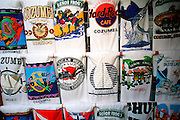 MEXICO, YUCATAN, COZUMEL, TOURISM San Miguel, the island's only town;  t-shirts for sale in a shop on the  Plaza del Sol