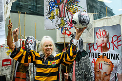 © Licensed to London News Pictures. 07/09/2020. LONDON, UK. Dame Vivienne Westwood joins supporters of Wikileaks founder Julian Assange at a protest outside the Old Bailey as his extradition hearing, which is expected to last for the next three or four weeks, resumes after it was postponed due to the coronavirus pandemic lockdown.  Julian Assange is wanted in the US for allegedly conspiring with army intelligence analyst Chelsea Manning to expose military secrets in 2010.  Photo credit: Stephen Chung/LNP