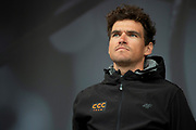 Greg Van Avermaet of CCC on stage during the Eve of Tour celebrations in Millennium square,Leeds, United Kingdom on 1 May 2019.