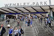 Fans arrive at Wembley Park Station ahead of the Johnstone's Paint Trophy Final match at Wembley Stadium, London<br /> Picture by David Horn/Focus Images Ltd +44 7545 970036<br /> 30/03/2014