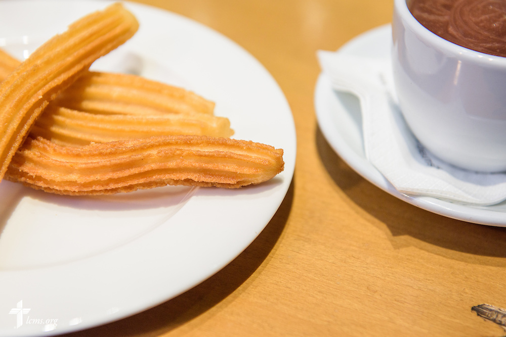 Churros and chocolate, a typical Spanish breakfast, at a cafe in Valladolid, Spain, on Saturday, Nov. 5, 2016. LCMS Communications/Erik M. Lunsford
