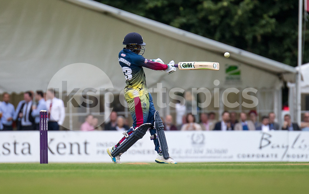 Another four from Daniel Bell-Drummond of Kent Spitfires during the NATWEST T20 BLAST match between Kent Spitfires and Surrey at The Nevill Ground, Tunbridge Wells, England on the 15th July 2016. Photo by Liam McAvoy.