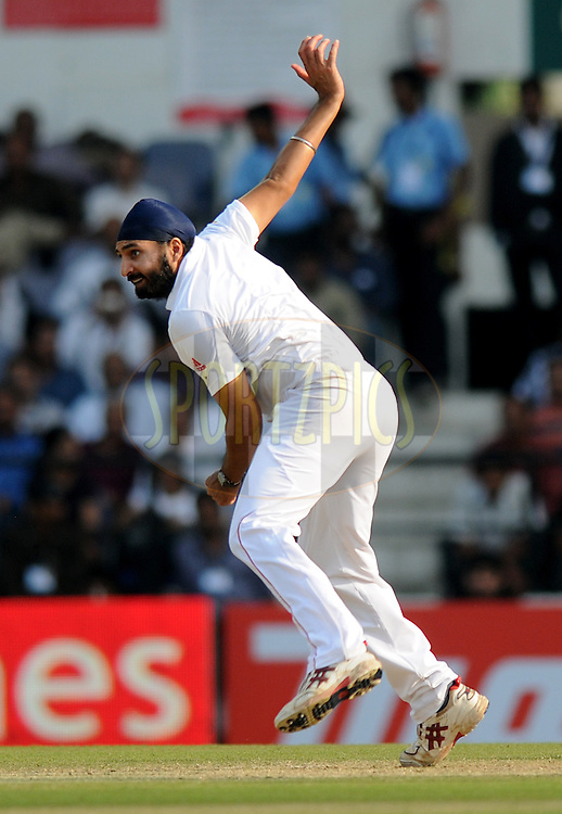 Monty Panesar of England bowls during day two of the 4th Airtel Test Match between India and England held at VCA ground in Nagpur on the 14th December 2012..Photo by  Pal Pillai/BCCI/SPORTZPICS .