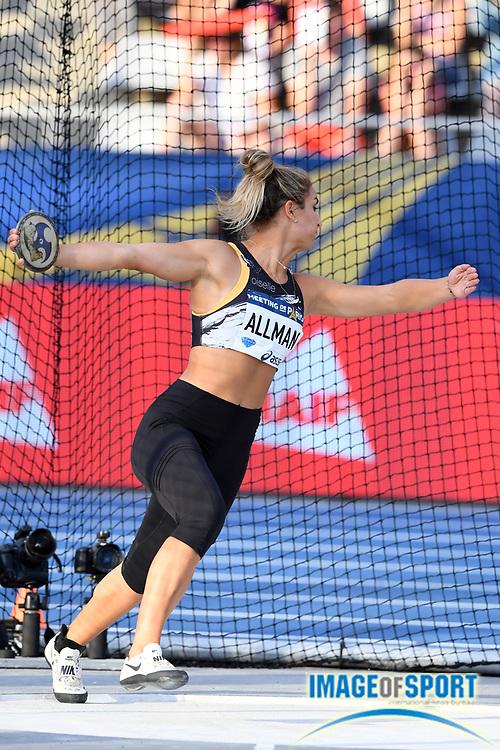 Valarie Allman (USA) places fifth in the women's discus at 208-11 (63.69m) during the Meeting de Paris, Saturday, Aug. 24, 2019, in Paris. (Jiro Mochizuki/Image of Sport via AP)