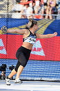 Valarie Allman (USA) places fifth in the women's discus at 208-11 (63.69m) during the Meeting de Paris, Saturday, Aug. 24, 2019, in Paris. (Jiro Mochizuki/Image of Sport via AP)