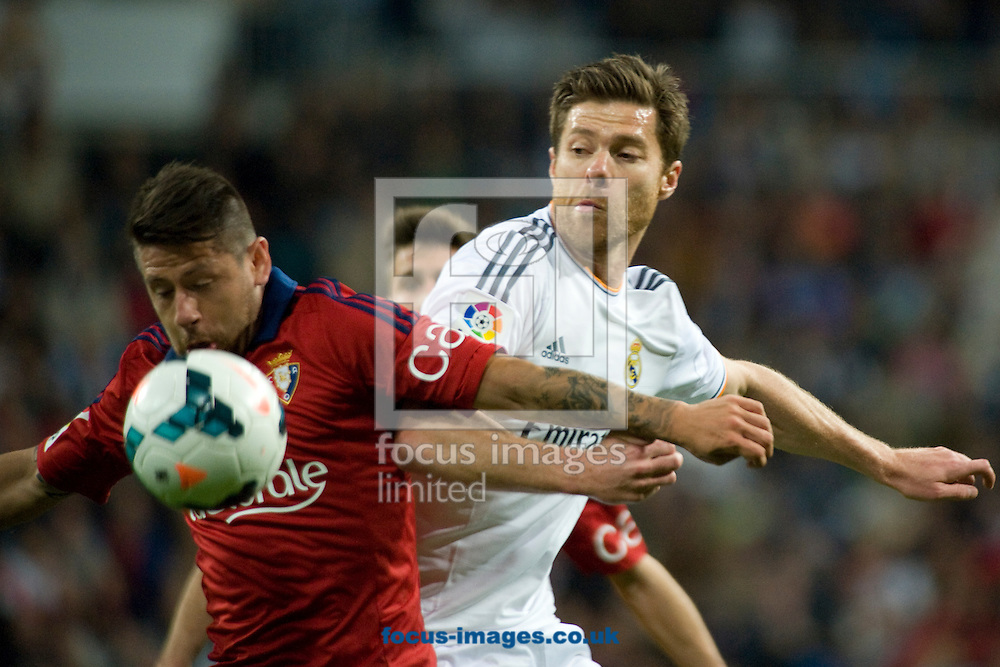 Xabi Alonso of Real Madrid during the La Liga match at the Estadio Santiago Bernabeu, Madrid<br /> Picture by Marcos Calvo Mesa/Focus Images Ltd +34 654142934<br /> 26/04/2014
