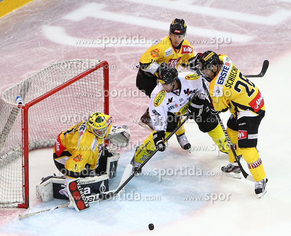 23.09.2012. Albert Schultz Eishalle, Wien, AUT, EBEL, UPC Vienna Capitals vs Dornbirner EC, 6. Runde, im Bild Matt Zaba, (UPC Vienna Capitals, #1) Danny Boris, (EC Dornbirn, #15) Benoit Gratton, (UPC Vienna Capitals, #25) Dan Bjornlie, (UPC Vienna Capitals, #28)  //during the Erste Bank Icehockey League 6th Round match betweeen UPC Vienna Capitals and Dornbirner EC at the Albert Schultz Ice Arena, Vienna, Austria on 2012/09/23. EXPA Pictures © 2012, PhotoCredit: EXPA/ Stephan Woldron