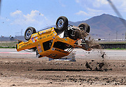 Jun. 26, 2010; Tooele, UT USA; LOORRS pro lite unlimited driver Aaron Daugherty crashes end over end during qualifying for round seven at Miller Motorsports Park. Mandatory Credit: Mark J. Rebilas-US PRESSWIRE