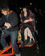24.FEBUARY.2010 - LONDON<br /> <br /> AGYNESS DEYN LEAVING GROUCHO PRIVATE MEMBERS CLUB, SOHO WITH FRIENDS AND THEN GETS ON A RICKSHAW WITH NICK GRIMSHAW, HENRY HOLLAND AND FIFI BEFORE JUMPING OFF HALF WAY DOWN THE ROAD.<br /> <br /> BYLINE: EDBIMAGEARCHIVE.COM<br /> <br /> *THIS IMAGE IS STRICTLY FOR UK NEWSPAPERS & MAGAZINES ONLY*<br /> *FOR WORLD WIDE SALES AND WEB USE PLEASE CONTACT EDBIMAGEARCHIVE - 0208 954 5968*