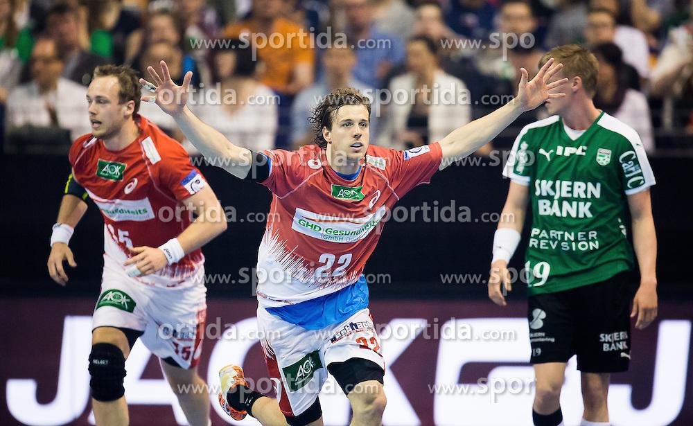 Berlin, Deutschland, 16.05.2015:<br /> Handball EHF Pokal Halbfinale Spiel 1 2014 / 2015 - Skjern Handbold - HSV Hamburg - EHF CUP Finals 2014/15.<br /> <br /> Kentin Mahe (HSV #22) *** Local Caption *** &copy; pixathlon
