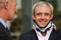 Ruby Walsh in a neck brace but happy at the Ballybrit race course for Galway Plate day. Photo:Andrew Downes