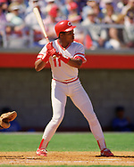PLANT CITY, FLORIDA- 1988: Barry Larkin of the Cincinnati Reds bats an MLB spring training game at Plant City, Florida during the 1988 season. (Photo by Ron Vesely) Subject:   Barry Larkin
