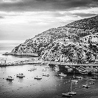 Catalina Island black and white picture with the Pacific Ocean and mountains. Catalina Island is a popular destination off the coast of Southern California in the United States.