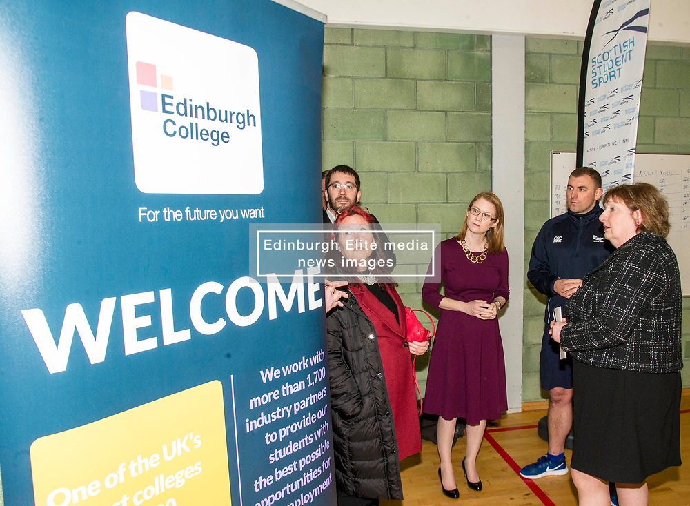 Pictured: Edinburgh College Sports coordinator Ryan Mahoney explained to Shirley-Ann Somerville,   Leslie Yellowlees (Scottish Funding Council board diiector (red hair)) and College Principal Annette Brunton how sports works in the college.<br /> <br /> Further and Higher Education Minister Shirley-Anne Somerville visited Edinburgh College's Granton campus to view the sport facilities and to announce a new GBP465,000 investment fund for the student sport sector.<br /> <br /> Ger Harley | EEm 8 February 2018