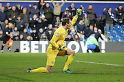 Queens Park Rangers goalkeeper Alex Smithies (1) celebrating with arm in the air during the EFL Sky Bet Championship match between Queens Park Rangers and Ipswich Town at the Loftus Road Stadium, London, England on 2 January 2017. Photo by Matthew Redman.