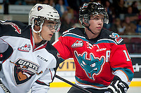 KELOWNA, CANADA - OCTOBER 1: Rourke Chartier #14 of Kelowna Rockets skates against the Vancouver Giants on October 1, 2014 at Prospera Place in Kelowna, British Columbia, Canada.   (Photo by Marissa Baecker/Shoot the Breeze)  *** Local Caption *** Rourke Chartier;