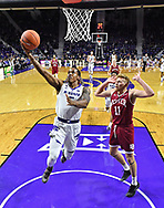 MANHATTAN, KS - NOVEMBER 12:  Barry Brown Jr. #5 of the Kansas State Wildcats drives in for a lay up past Jake Krafka #11 of the Denver Pioneers during the first half on November 12, 2018 at Bramlage Coliseum in Manhattan, Kansas.  (Photo by Peter G. Aiken/Getty Images) *** Local Caption ***  Barry Brown Jr.;Jake Krafka