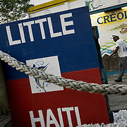 MIAMI, FLORIDA - FEBRUARY 8, 2016<br /> Welcome to Little Haiti sign on the parking lot of a Creole restaurant in Miami's Little Haiti which is a neighborhood formerly known as Lemon City.<br /> (Photo by Angel Valentin)