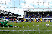 MK Dons forward Alex Revell (18) scores a goal from the penalty spot and celebrates to make the score 1-1 during the Sky Bet Championship match between Ipswich Town and Milton Keynes Dons at Portman Road, Ipswich, England on 30 April 2016. Photo by Simon Davies.