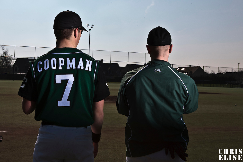 11 April 2010: Warren Coopman of Montigny is seen next to a teammate prior to game 1/week 1 of the French Elite season won 5-1 by Rouen over Montigny, at the Cougars Stadium in Montigny le Bretonneux, France.