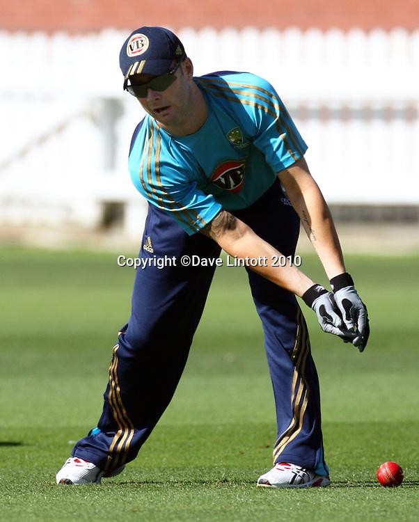 Australian vice-captain Michael Clarke fumbles in slips practice.<br /> Australian cricket training at Allied Prime Basin Reserve, Wellington. Tuesday, 16 March 2010. Photo: Dave Lintott/PHOTOSPORT
