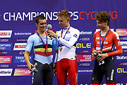 Podium, Men Points Race, Wojciech Pszczolarski (Poland) gold medal, Kenny De Ketele (Belgium) silver medal, Stefan Matzner (Austria) bronze medal, during the Track Cycling European Championships Glasgow 2018, at Sir Chris Hoy Velodrome, in Glasgow, Great Britain, Day 4, on August 5, 2018 - Photo Luca Bettini / BettiniPhoto / ProSportsImages / DPPI - Belgium out, Spain out, Italy out, Netherlands out -