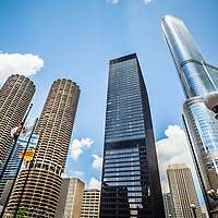 Photo of Chicago skyscrapers in downtown Chicago including Marina City Towers, IBM Building, and Trump Tower.