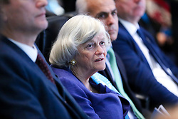 © Licensed to London News Pictures. 22/11/2019. London, UK. Member of the European Parliament for South West England  ANN WIDDECOMBE listens to the Brexit Party leader NIGEL FARAGE'S speech as he launches the Brexit Party's 'Contract With The People' policies in Westminster. Photo credit: Dinendra Haria/LNP