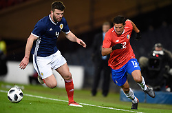 Scotland's Grant Hanley and Costa Rica's Daniel Colindres during the international friendly match at Hampden Park, Glasgow