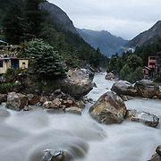The Bhagirathi (Ganges) River roars through the narrow valley of Gangotri, Uttarakhand, India.