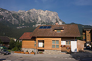 Modern Tyrolean house architecture in Leonhard-St Leonardo, a Dolomites village in south Tyrol, Italy.
