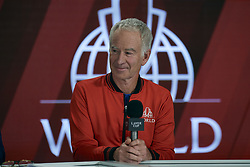 September 20, 2018 - Chicago, Illinois, U.S - Team World Coach JOHN MCENROE answers questions during a team press conference before the Laver Cup at the United Center in Chicago, Illinois. (Credit Image: © Shelley Lipton/ZUMA Wire)
