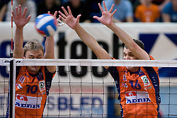 Veljko Petkovic and Matej Vidic of ACH at final match of Slovenian National Volleyball Championships between ACH Volley Bled and Salonit Anhovo, on April 24, 2010, in Radovljica, Slovenia. ACH Volley defeated Salonit 3rd time in 3 Rounds and became Slovenian National Champion.  (Photo by Vid Ponikvar / Sportida)