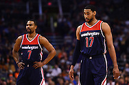 Apr 1, 2016; Phoenix, AZ, USA; Washington Wizards guard Garrett Temple (17) and guard Ramon Sessions (7) stand on the court during a free throw in the first half against the Phoenix Suns at Talking Stick Resort Arena. Mandatory Credit: Jennifer Stewart-USA TODAY Sports
