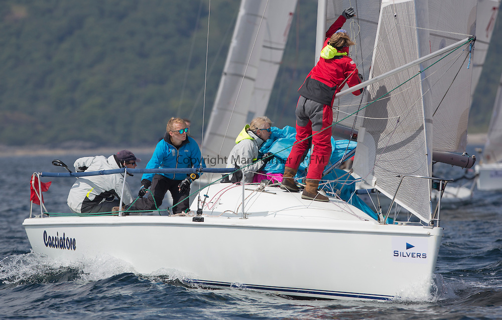 Day three of the Silvers Marine Scottish Series 2016, the largest sailing event in Scotland organised by the  Clyde Cruising Club<br /> Racing on Loch Fyne from 27th-30th May 2016<br /> <br /> GBR7115N, Cacciatore, John/Stewart Robertson, Royal Forth YC<br /> <br /> Credit : Marc Turner / CCC<br /> For further information contact<br /> Iain Hurrel<br /> Mobile : 07766 116451<br /> Email : info@marine.blast.com<br /> <br /> For a full list of Silvers Marine Scottish Series sponsors visit http://www.clyde.org/scottish-series/sponsors/
