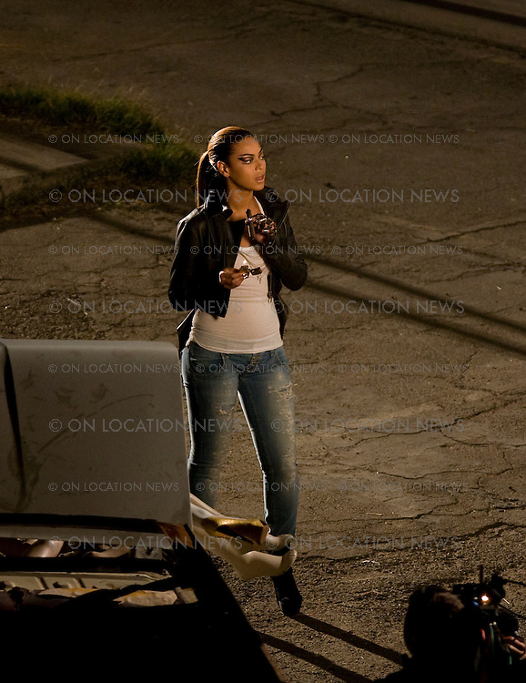 LOS ANGELES, CALIFORNIA - SATURDAY 22ND NOVEMBER 2008.NON EXCLUSIVE: Beyonce shooting scenes for her new video in Downtown LA. The action packed video included a car exploding into flames after Beyonce lit a cigar and tossed the lighter onto the car causing it to explode. Photograph: On Location News. Sales: Eric Ford 1/818-613-3955 info@OnLocationNews.com