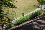 "A couple spending their freetime on a Saturday afternoon at the ""Deer Moat (Jelenni prikop)""."